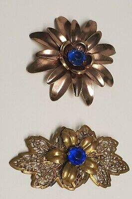 Two Antique Ornate Brass Floral Blue ?  Purple ? Antique C Clasp Brooches