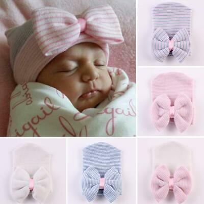Baby Girls Infant Striped Cap Hospital Newborn Soft Bow Beanie Hat Gifts