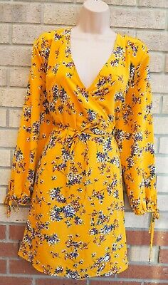Primark Yellow Floral Ditsy Wrap Belted Long Sleeve A Line Skater Tea Dress 18