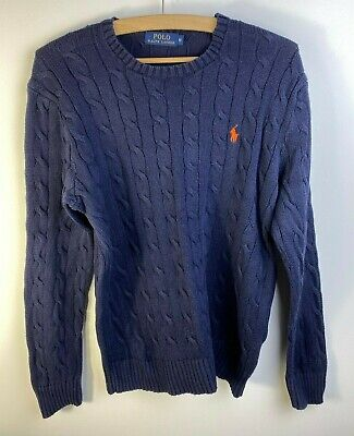 RALPH LAUREN Mens Jumper Cable Knit Crew Neck Bluer Size M