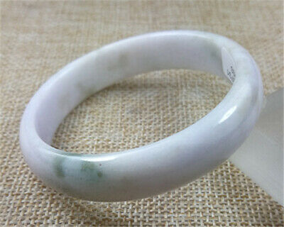 53.6MM Certified Grade A Natural Lavender Green Jadeite Bracelet Jade Bangle