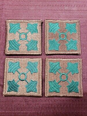 Lot of 4 US Army Military 4th Infantry Division Patch Green on Brown Background