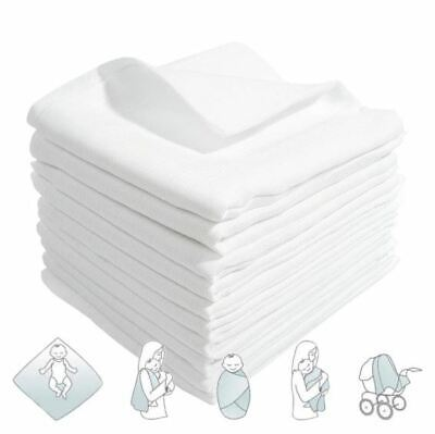 12x White Muslin Squares 100% Cotton Baby Cloths Nappy Inserts Bibs 80x70 cm