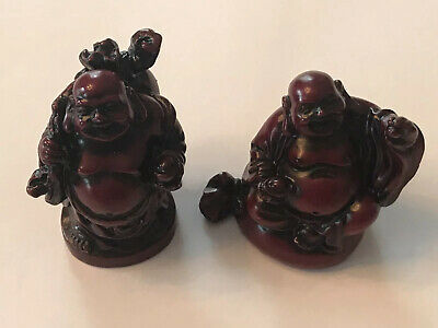 Vtg Chinese Buddhas Hand Carved Red Wood-Happy Face-Good Riches-Traveling-2 Lot