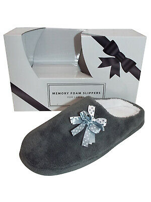 Slippers Ladies / Girls Grey Memory Foam Open Back Super Soft Corsage