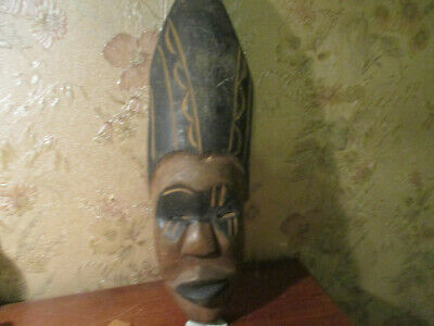 Vintage Authentic African tribal Wood Hand Carving Sculpture/mask '