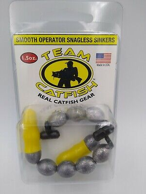 Team Catfish Smooth Operator 1.5 oz Snagless Sinkers 2 Pack