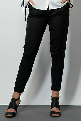 Ladies Trousers Twill Peg Smart Black High Waist Work Casual Size 6-16