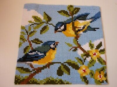 British Birds Completed Cross Stitch, Cushion Front, Ready for Framing, Mounting