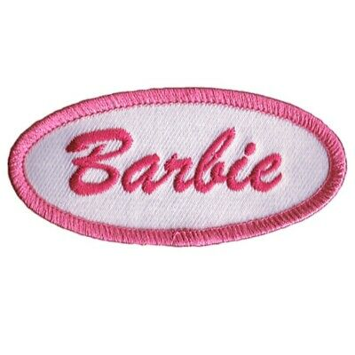 "Barbie Patch - Pink, White 3"" (Iron On)"