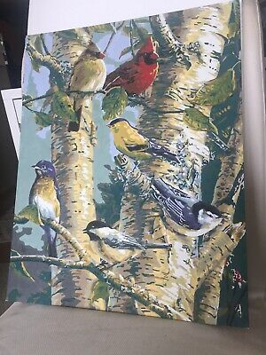 Vintage 15.5x20 Paint by Number Painting Cardinal Birds In Tree Unframed