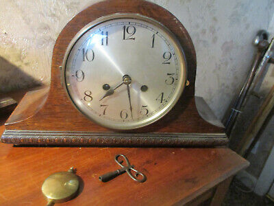 Vintage art deco  Napoleon Hat chiming mantle  clock  F.K GERMANY