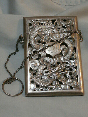 Victorian Silver Calling Card Case Pierced Chinese Dragons Hallmarked 1880's