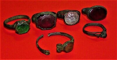 Ancient Bronze Rings  with Stone  Antique Rare Set 6 Pieces!