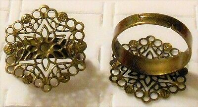 Ring Antiqued Finish Brass Steel Filigree Hexagon Flower Adjustable Lot Of 10