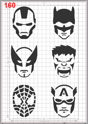 Marvel Super Heros Face Mask Stencil MYLAR A4 sheet strong reusable Art Craft