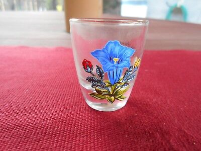 Vintage ST. ANTON, AUSTRIA Souvenir Floral Weighted Shot Glass w/Gold Rim