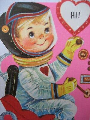 Vintage Valentine Gibson Card Colorful Astronaut Space Suit Control Panel UNUSED
