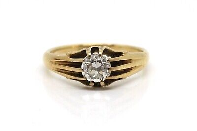 Stunning Antique Victorian 18ct Gold 0.60ct Diamond Solitaire Gypsy Style Ring