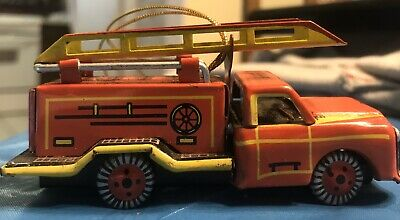 Tin Christmas Tree Ornament Fire Truck And Ladder