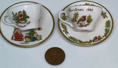 Cute Caverswall Miniature China Cup And Saucer X 2 Christmas 1981 & 1982