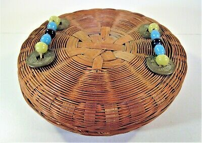 Antique Chinese Woven Sewing Basket w/ Peking Glass Beads Coins on Lid