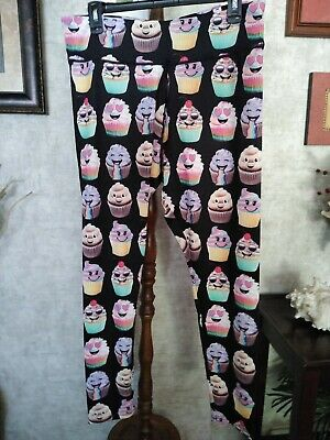 Justice  Cupcakes  Leggings Size 22 Plus Nwt Beautiful Bright Happy Colors