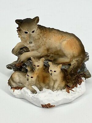 Vintage Wolf and Pups Resin Figurine, Mini Sculpture