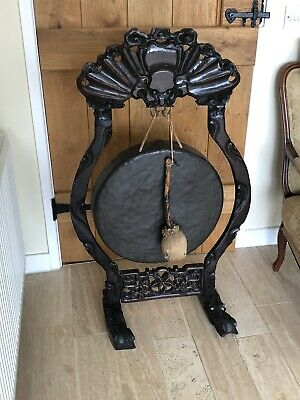 Large Antique Victorian Chinese Carved Dinner Gong with Bronze Gong Ceremonial