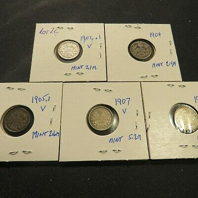 Canadian Silver Five Cent Coins (92.5% Ag): LOT 2C- 1902, 1904, 1905, 1907, 1910