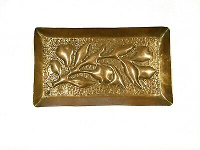 Newlyn School Copper Pin Tray Dish Decorated Pears Leaves Signed Arts & Crafts