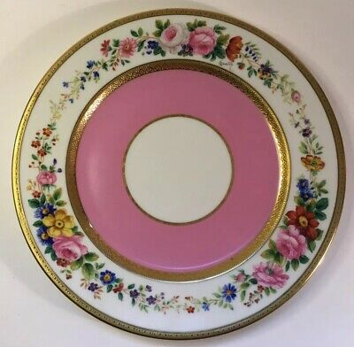 Antique Large Handpainted & Nicely Goldtrimed French Faience Plate c.1880s