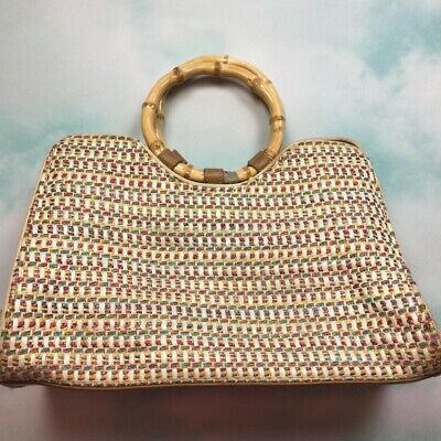 FOSSIL 75082  Multi-Color Woven Straw Bag Bamboo