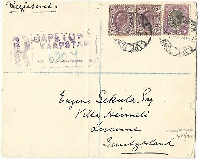 Transvaal/South Africa 1927 Registered Mixed Franking Cover to Switzerland
