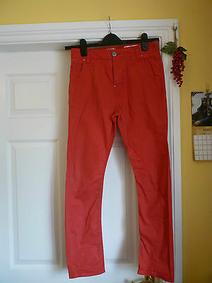 """Next Boys Red Chino Trousers Age 12-13 Waist 15"""" Across. Super Trousers"""