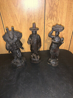 Vintage Set Of 3 Oriental Hand Carved Wooden Figures Dark Wood !See Description