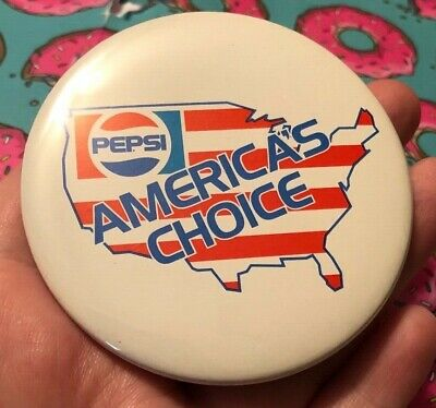 "Vintage Pepsi Cola Advertising ""America's Choice"" Round Button Pin *NEW*"