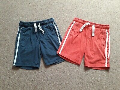 Boys 2 Pack F&F Shorts Navy Blue and Red Elasticated Waist Age 7-8 Years