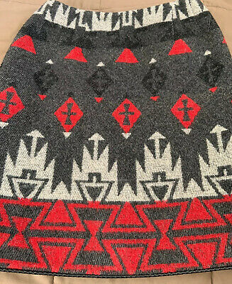 Southwest Skirt Sz 4 Wool blend Native American Indian Gray Red NEW Rare Aztec