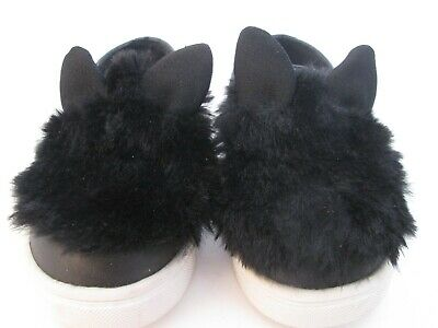 Cat & Jack Girls Toddler Black Kitty Cat Furry Shoes Size 7
