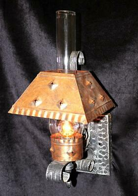 """8"""" x 19"""" Vintage Gothic Wrought Iron Hand -Hammered, Lantern Sconce, Glass Shade"""