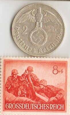 "-*WW2 *german STAMP of ""SS""- COMMANDO + SILVER EAGLE(.625%) coin"