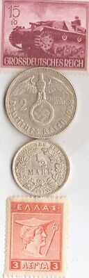 "#-5)-""PANZER"" tank stamp+ silver(.900%,.625%)-WW1 and WW2 *german  coins"