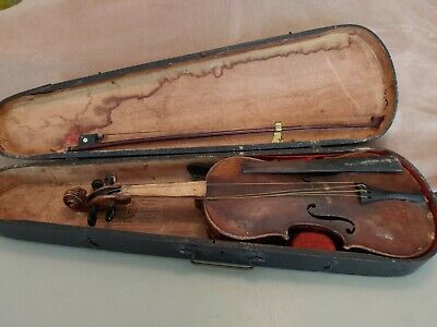 Antique Violin With Case & Bow Signed By Maker