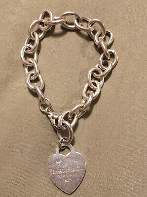 Please Return To Tiffany & Co New York 925 Sterling Silver Heart Tag Bracelet