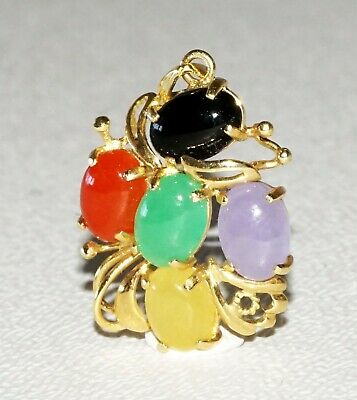 Vintage Chinese 14k Yellow Gold Pendant w. 5x Multicolor Jade Accents (SaR) #114