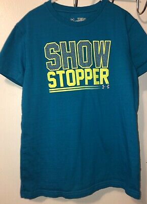 Girls Under Armour Teal Show Stopper Size Youth Medium Short Sleeve T-shirt
