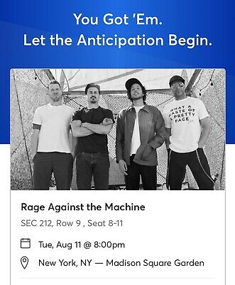 2 Tickets Rage Against The Machine & Run the Jewels 8/11/20 New York, NY MSG