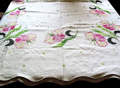 "Exc Hand Made Butterfly & Floral Cross Stitch Linen Tablecloth 47"" X 65"""