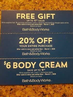 Bath & Body Works 20% off entire purchase and other offers, expires 3/1/20